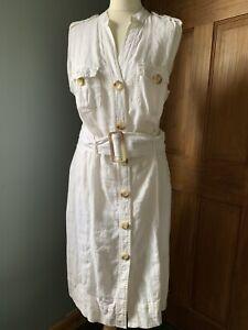 marks and spencer White Linen Dress Size 16