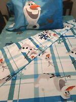Disney Frozen Twin Sheet Set Olaf and Sven Microfiber Reversible Pillow Case