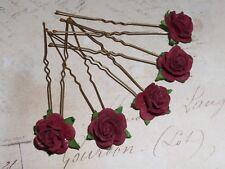 Burgundy Rose Hair pins,Flower girl, Bridesmaid,Prom,Festival,Boho,Party,Vintage