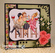 Girlfriends Wine tasters  (no words) L@@K@example ART IMPRESSIONS RUBBER STAMPS