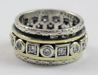 Handmade Sterling Silver and 14k Solid Yellow Gold with CZ stones Spinner Ring