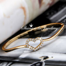 18K GOLD GF Love HEART Bangle BRACELET with Swarovski Diamond WEDDING EX749