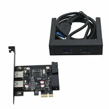 """4 Ports USB 3.0 3.5"""" Floppy Bay Front Panel with expansion PCI-E Express Card"""