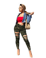Women Sexy All-Match Camouflage Print Burn-out Skinny Long Pencil Pants Casual