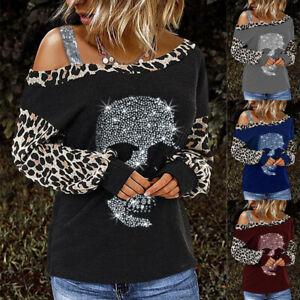 Women Gothic Shirt Skull Leopard Print Off Shoulder Top Ladies Blouse T-Shirt E9