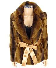 CACHE Faux Fur Jacket XS X-SMALL Cognac Chinchilla NEW NWT Satin Bow Coat