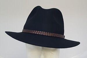 Filzhut Outdoor Hut schwarz Wasserabweisend+Chrushable 100 % Wolle schwarz