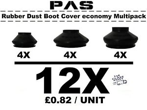 UNIVERSAL TRACK ROD END BALL JOINT RUBBER DUST BOOT COVERS GAITERS COMBIPACK 12X