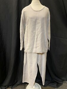 Flax/Angelhead 2 Pc Set-Top/Pullover-Pants/Capri Women Sz.S-Beige Linen