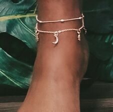 moon and stars charms Rose Gold Plated Anklet with