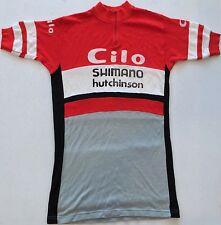 Cilo Shimano Hutchinson Castelli Italia Vintage Flocked Cycling Shirt Size M Red