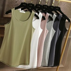 Extra Long Stretch Layering Bandage Fitted Basic Slit Cami Tank Top Studd  S-2XL