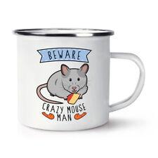Beware Crazy Mouse Man Retro Enamel Mug Cup - Funny Joke