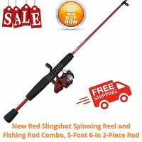 Zebco Slingshot Spinning Reel And Fishing Rod Combo, 5-Foot 6-in 2-Piece Rod, Re