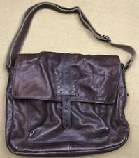 Men's Dark Brown Leather Fossil Messenger Bag Briefcase Satchel NICE