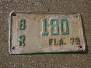 AMERICAN FLORIDA 1973 VINTAGE MOTORCYCLE # 8R180 RARE NUMBER PLATE