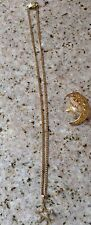 """Vintage Star Pendant Necklace 16"""" Chain With Moon And Star Tac Back Pin"""