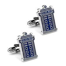 TARDIS CUFFLINKS Police Box Blue Silver Tone GIFT BAG Dr Doctor Who Sci Fi Fan