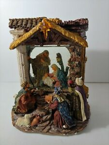 Kirkland Musical Windowpane Waterglobe Nativity. Oh Holy Night Light Up