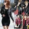 Women Soft Leather Slim Motorcycle Zipper Ladies Biker Coat Short Jacket Outwear