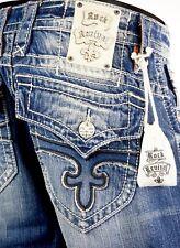"$220 Mens Rock Revival Jeans ""Paul"" Medium Wash Straight Leg 32 X 32"