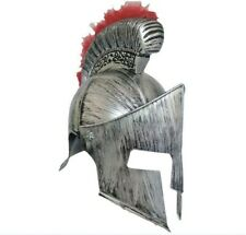 Spartan Silver Helmet Red Plume Ancient Roman Gladiator Fancy Dress Costume Hat