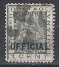 BRITISH GUIANA 1878 SHIP OFFICIAL BAR OVERPRINT 1C PROVISIONAL USED