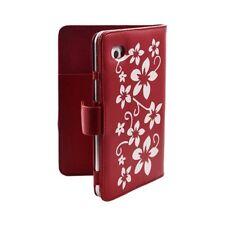 Housse coque étui pour Samsung Galaxy Tab 7 Plus P6200 motif Fleur couleur Rouge