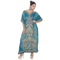 Womens Hippy Boho Caftan Dress Kaftan Kimono Sleeve BeachCocktail Maxi Free Size