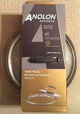 New Anolon Accessories Advanced Hard Anodized Twin Pack Lid 10 Inch & 12 Inch