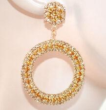 ORECCHINI oro donna cerchi pendenti eleganti strass cristalli brillantini F55