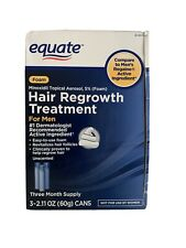 Equate Foam Hair Regrowth Treatment For Men Three MONTH SUPPLY NIB