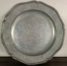 Antique John Duncombe English Pewter Plate Wavy Edge Scalloped Dish 18th century