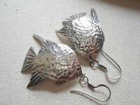Large Vintage Mexico Taxco Hammered Sterling Silver Fish Dangle Earrings   6978