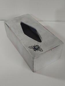 Tissue Box Cover Rectangular diamond Rustic Farmhouse White Wooden honey bee m0
