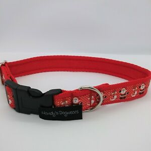 Christmas dog collar gift red santas & snowmen for small, medium & large dogs