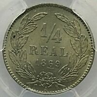 Honduras 1/4 Real 1869 A PCGS MS-65. Scares in This Grade !!!!