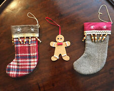Set Of Fabric Christmas Tree Decorations - 2 X Stockings & 1 Gingerbread Man