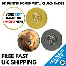 Custom Printed 25mm Lapel Pin Badges • High Resolution Print Text Image Badge