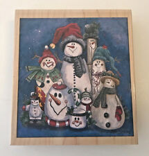 Christmas Wood Stamp Snowman Collection Stamps Happen Inc Jamie Carter NEW USA