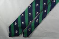 Peter Millar 100% Silk Luxury Necktie. Navy and Green Diagonal Stripe, Shields.