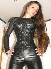 Cuir véritable corsage corset gothique noir xxl real leather ledercorsage 9797