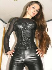 ECHTES LEDER Corsage Korsett Gothic schwarz XXL Real Leather Ledercorsage 9797