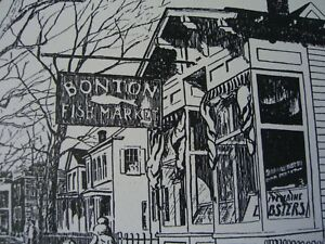 "Robert Treat sketch ""Bonton Fish Market"" Main St. Stratford,CT., Org. Lith 1960"