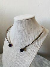 Vintage Bent Knudsen SIGNED 5 Sterling Silver Amethyst Collar Necklace Denmark