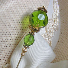 Green Crystals On Gold Finish Hatpin - Long Ladies Hat pins