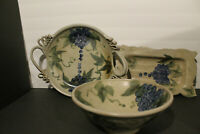 Vintage Buell Pottery Stoneware 3 pcs - Hand Thrown/Glazed/painted & signed