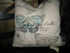 """French Decor:  Down Filled French Print Pillow w/ zippered cover ~16"""" X ~16"""""""