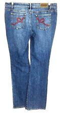 Roca Wear Red Orange Logo Pockets Stretch Jeans Juniors 15 Womens 34 X 33