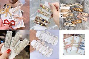 Pearl Crystal Clear Hair Clip Snap Button Hair Pins Women Hairpin Clips